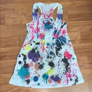 Forever 21 Paint Splatter Tank with Front Pockets